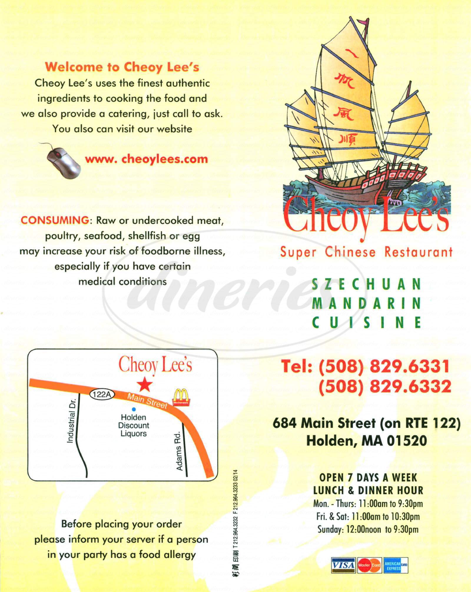 menu for Cheoy Lee's