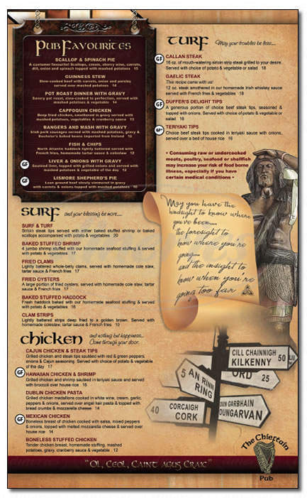 menu for Chieftain Pub