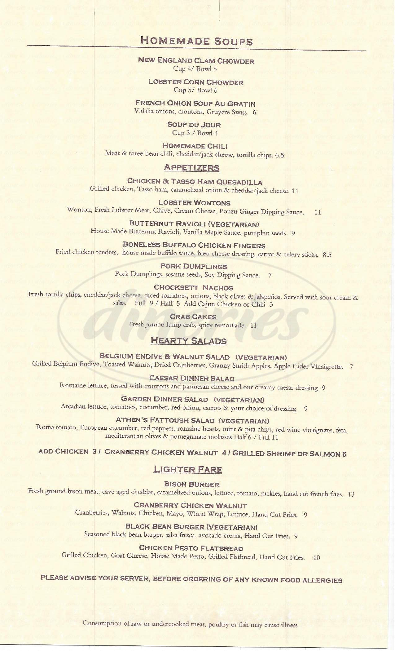 menu for Chocksett Inn