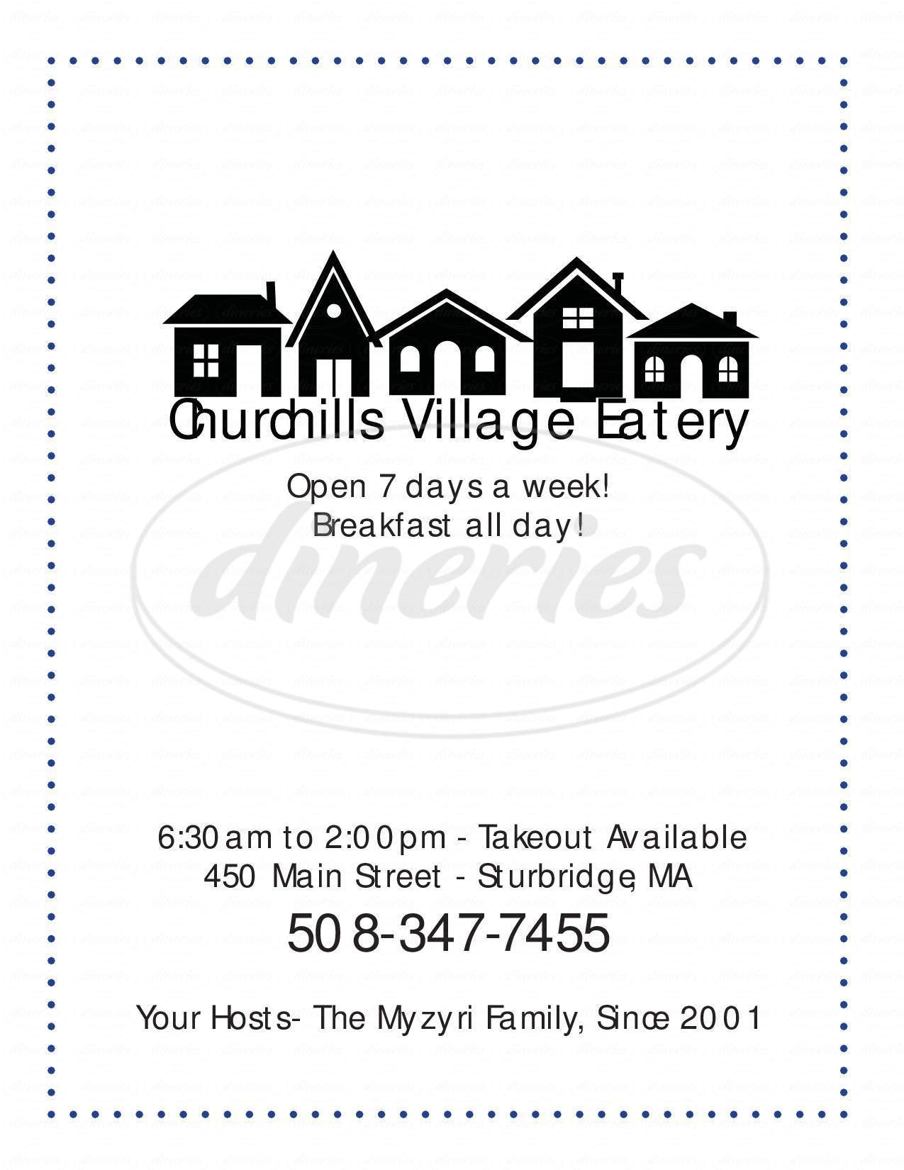 menu for Churchill's Village Eatery
