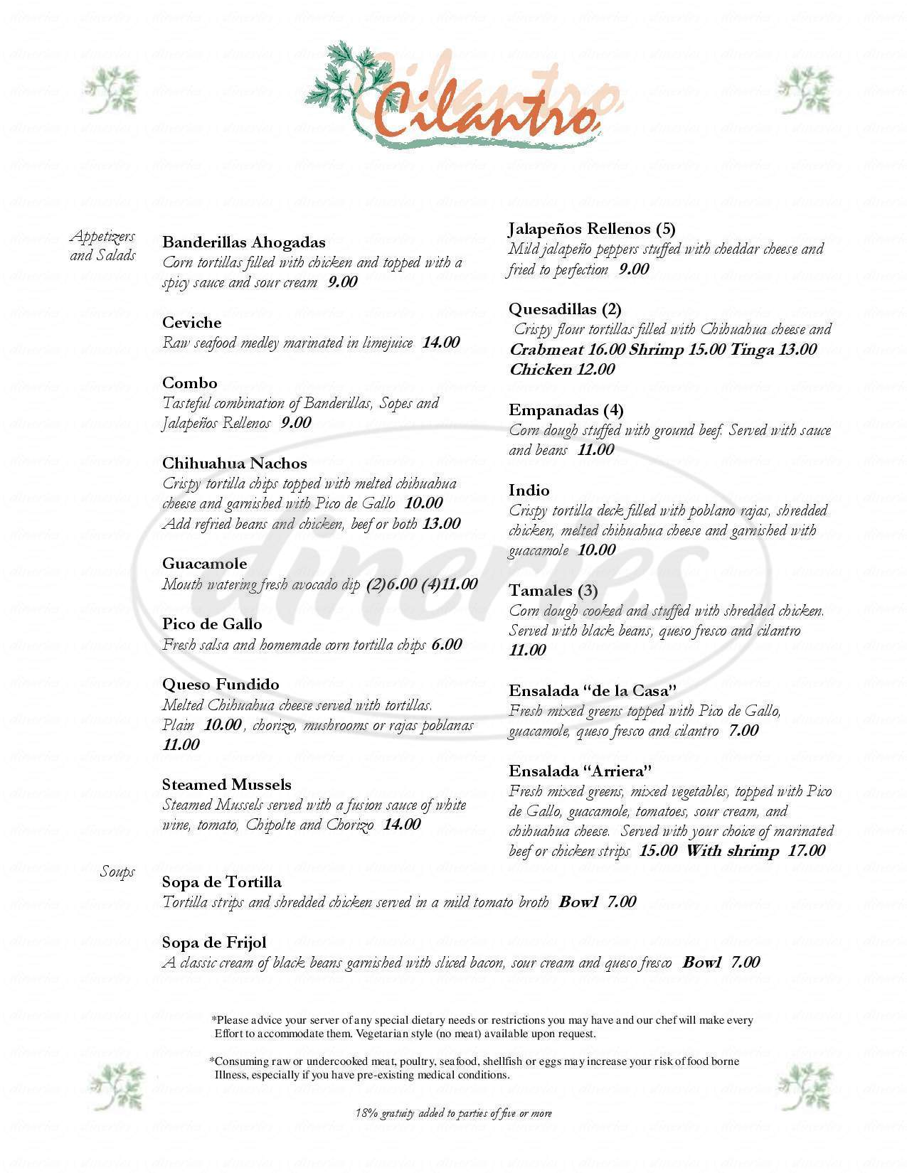 menu for Cilantro