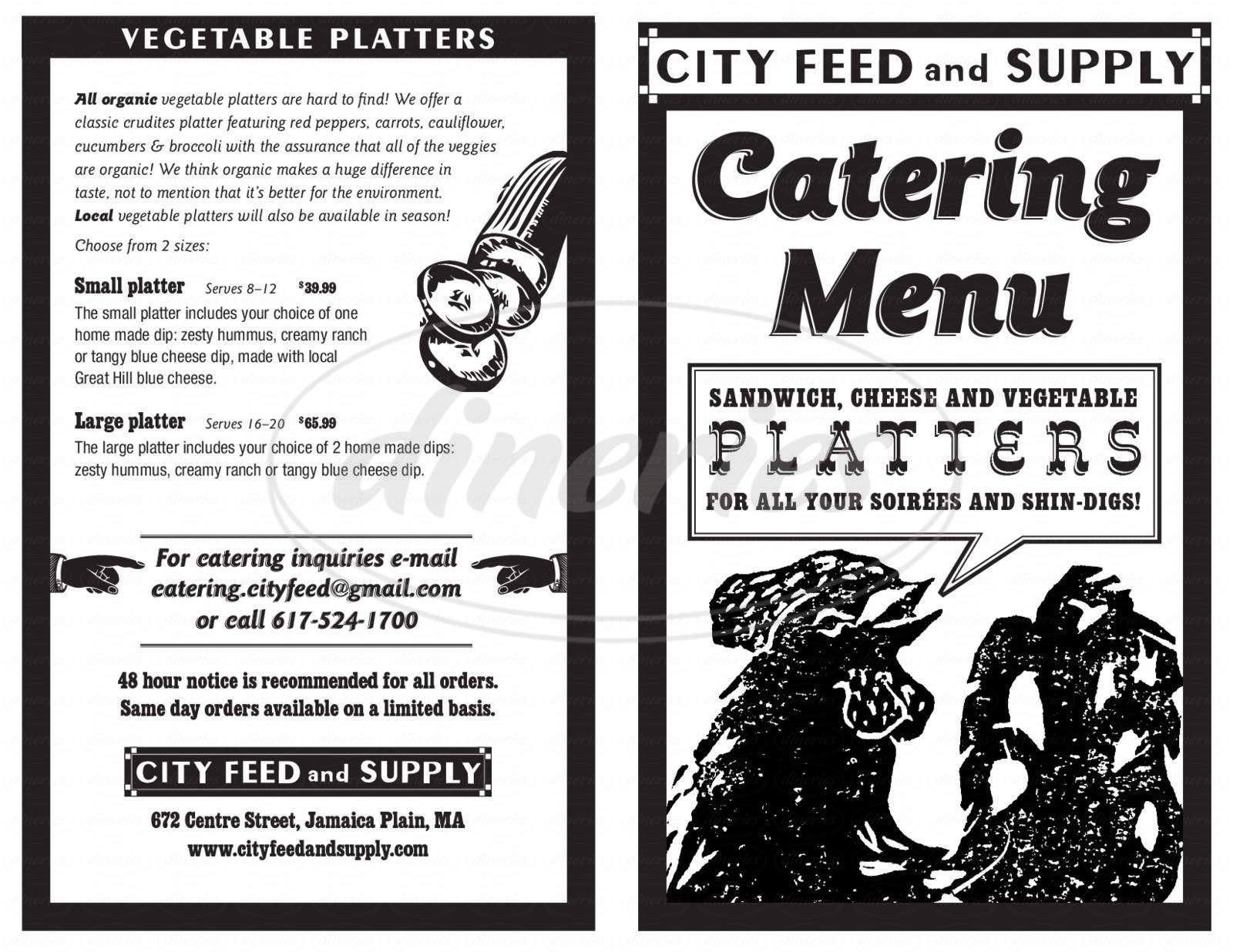 menu for City Feed & Supply