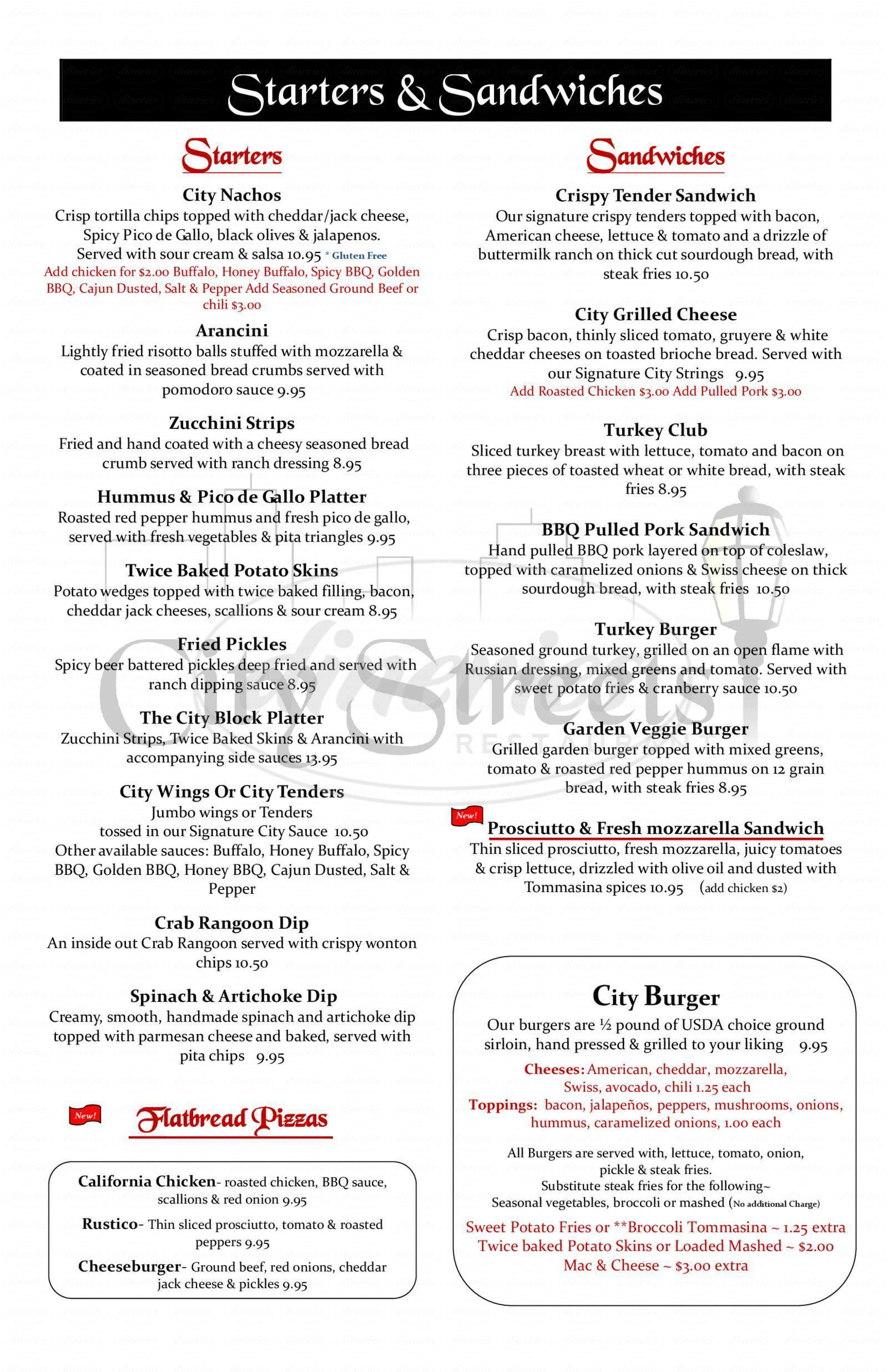 menu for City Streets Restaurant