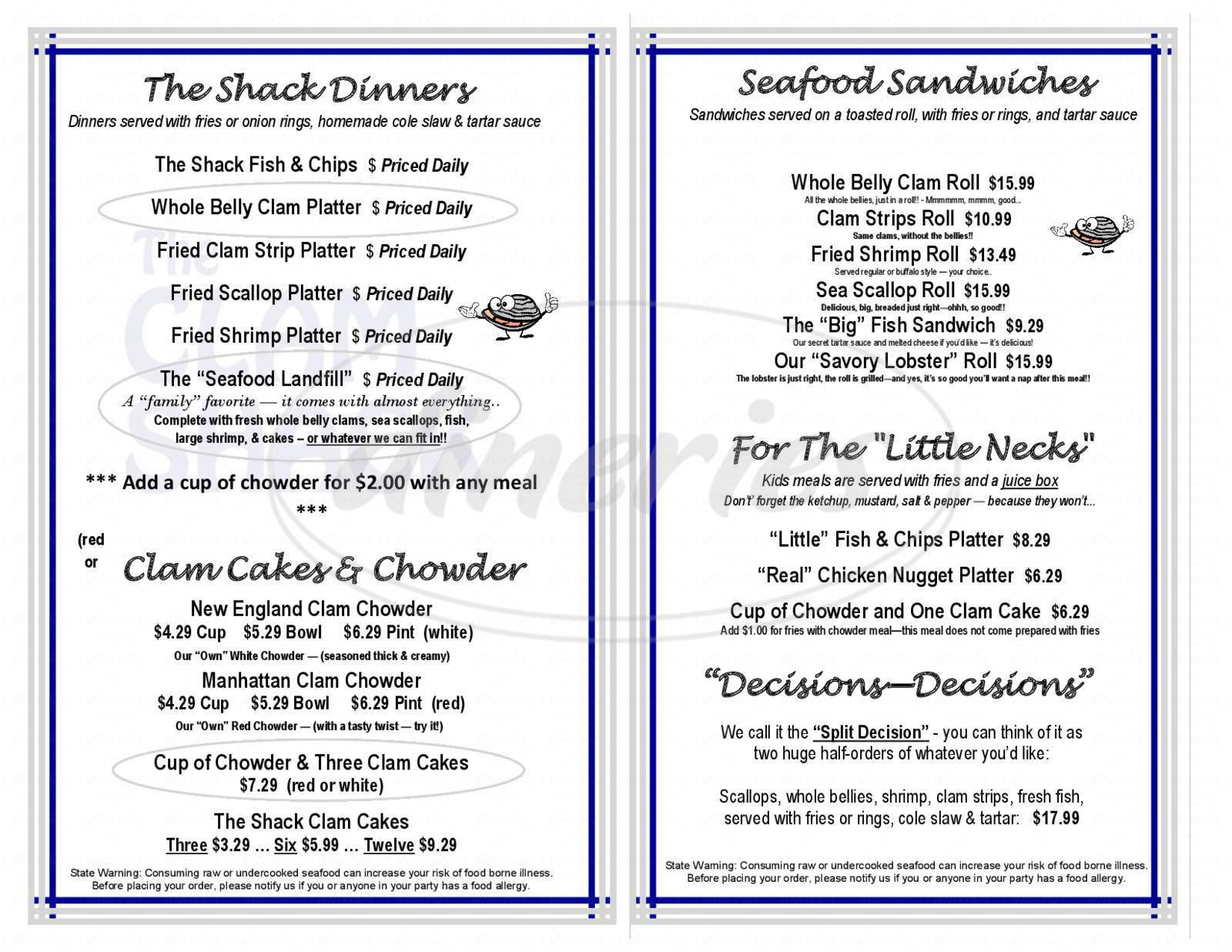 menu for The Clam Shack