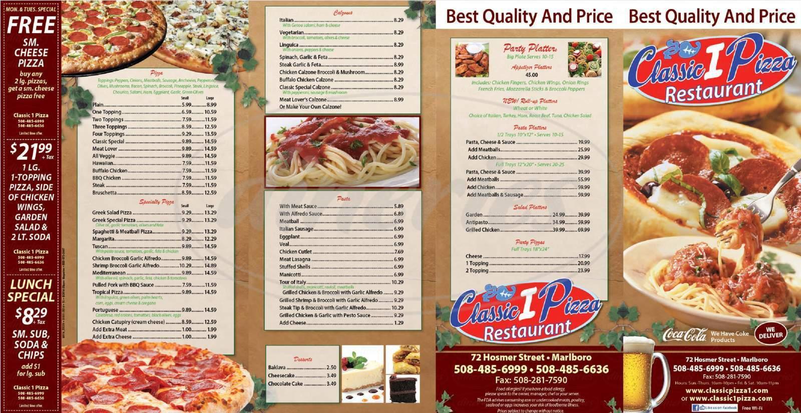 menu for Classic Pizza 1