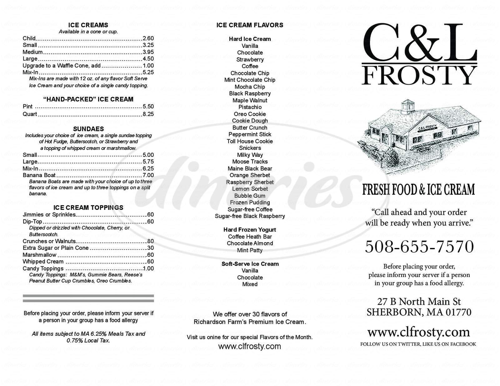 menu for C & L Frosty