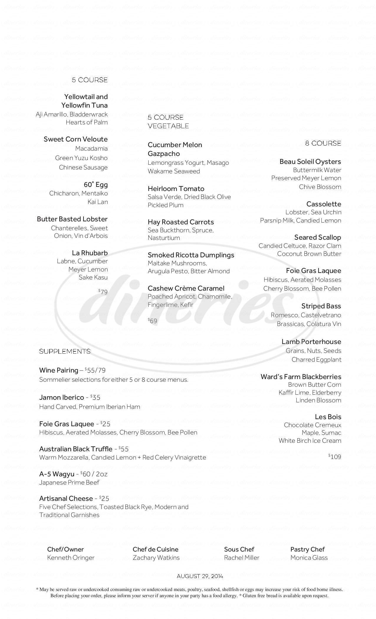 menu for Clio Restaurant
