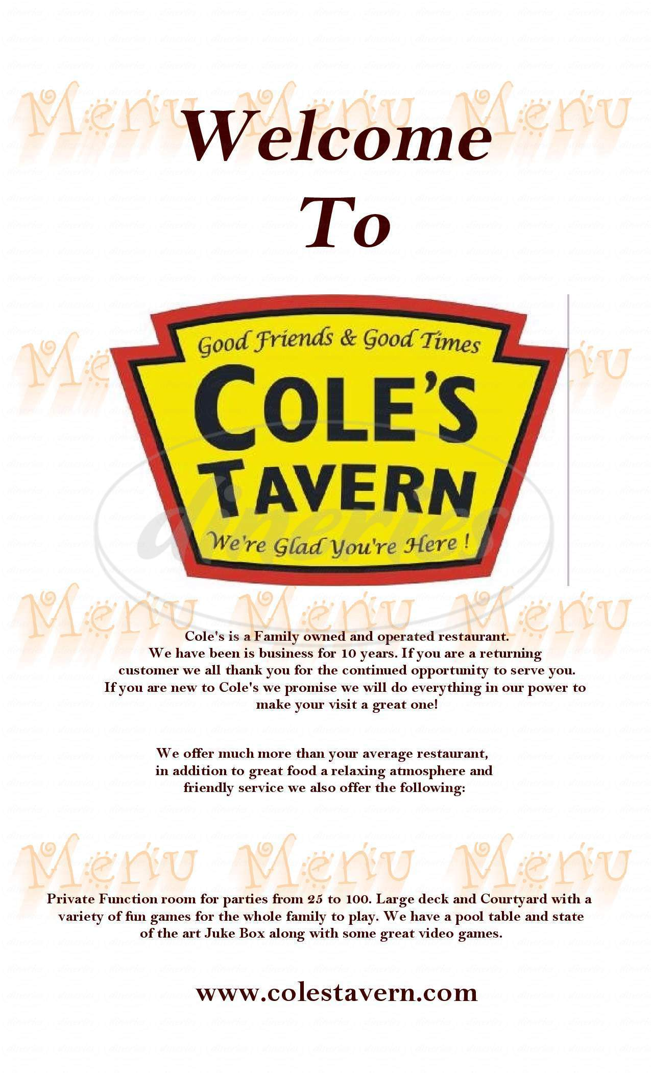 menu for Cole's Tavern