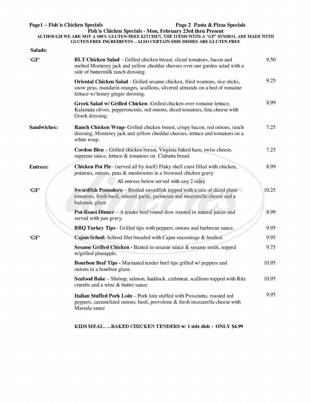 menu for Fish n Chicken