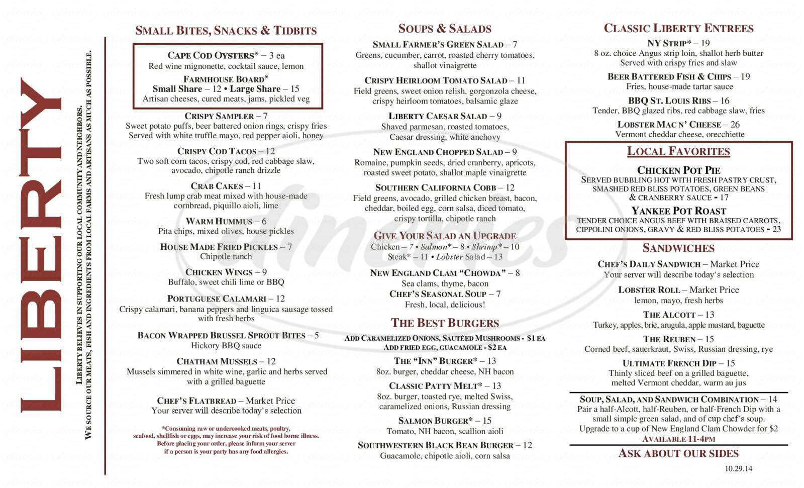 menu for Liberty at the Colonial Inn