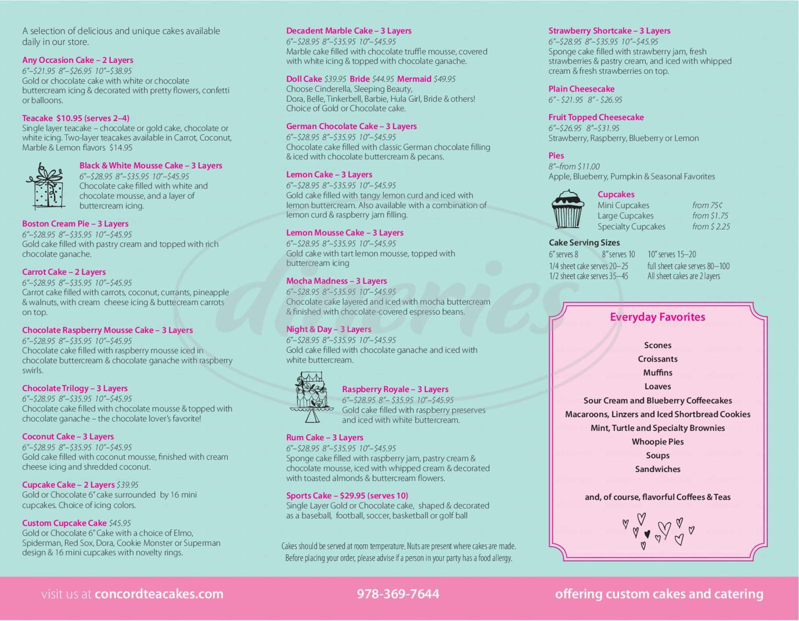 menu for Concord Teacakes