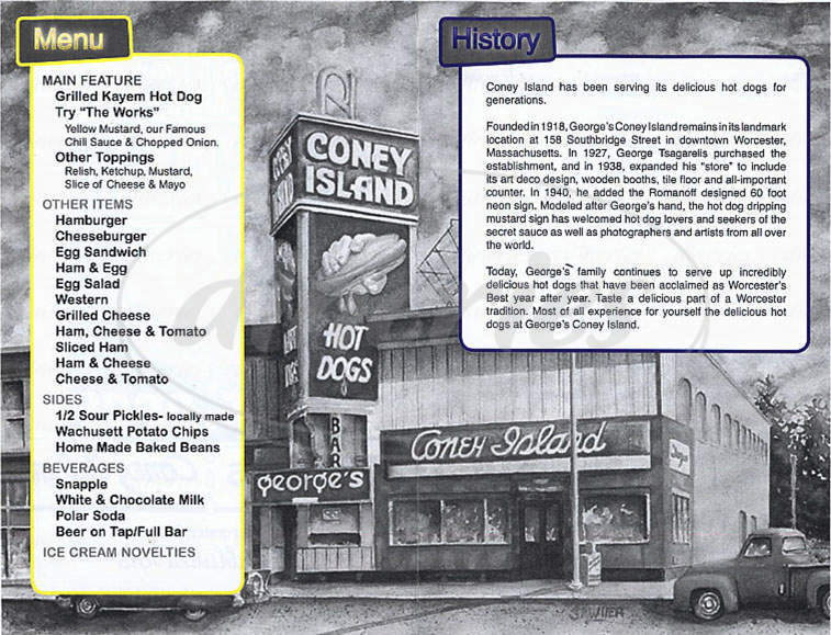 menu for George's Coney Island Lunch