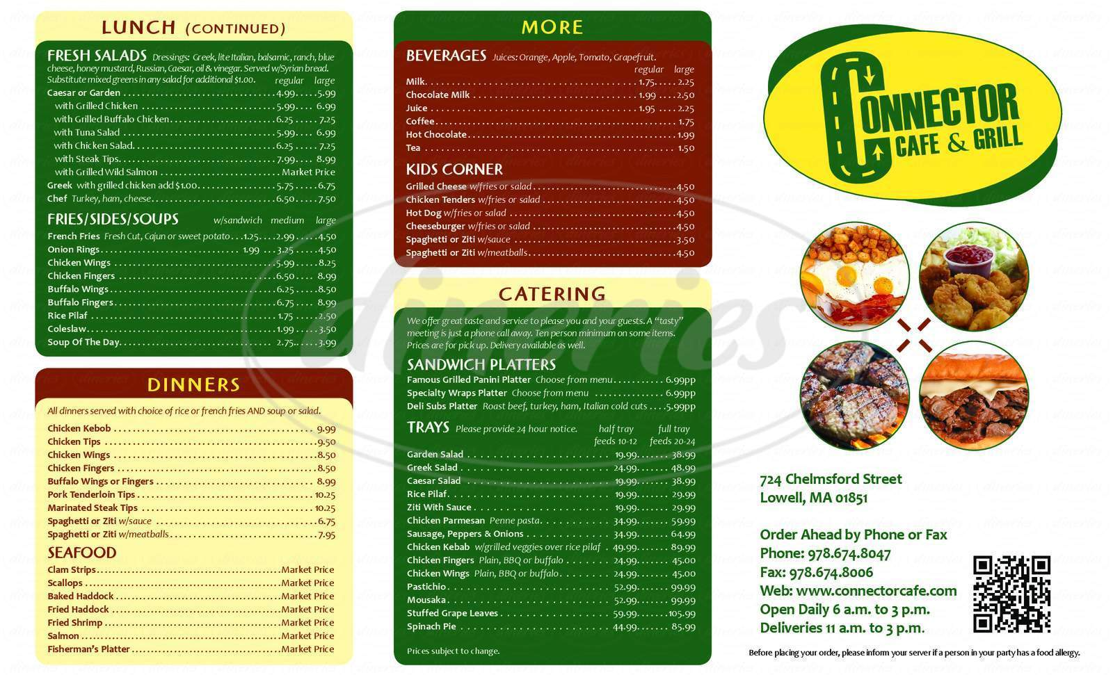 menu for Connector Cafe & Grill