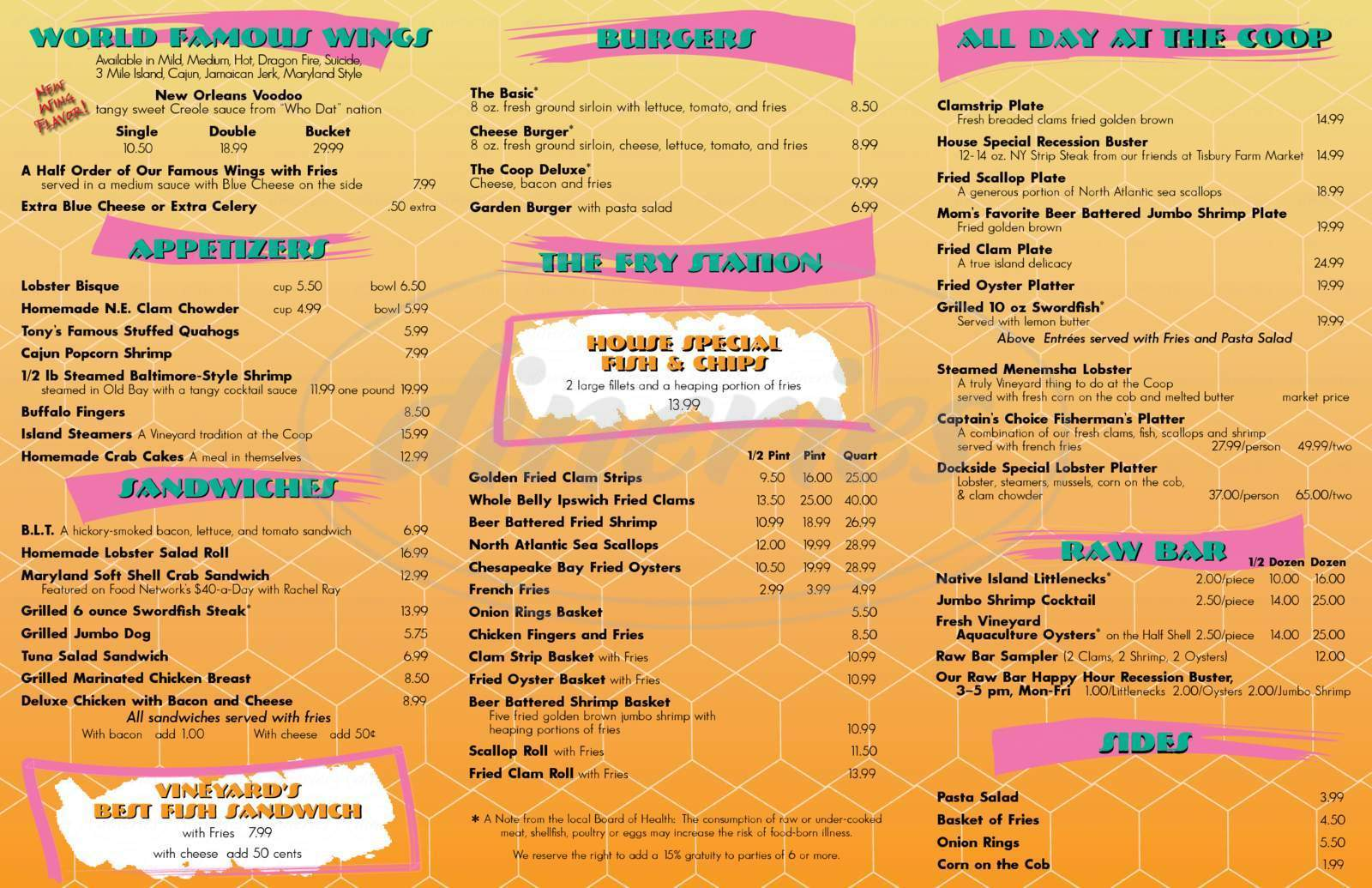 menu for The Coop Deville