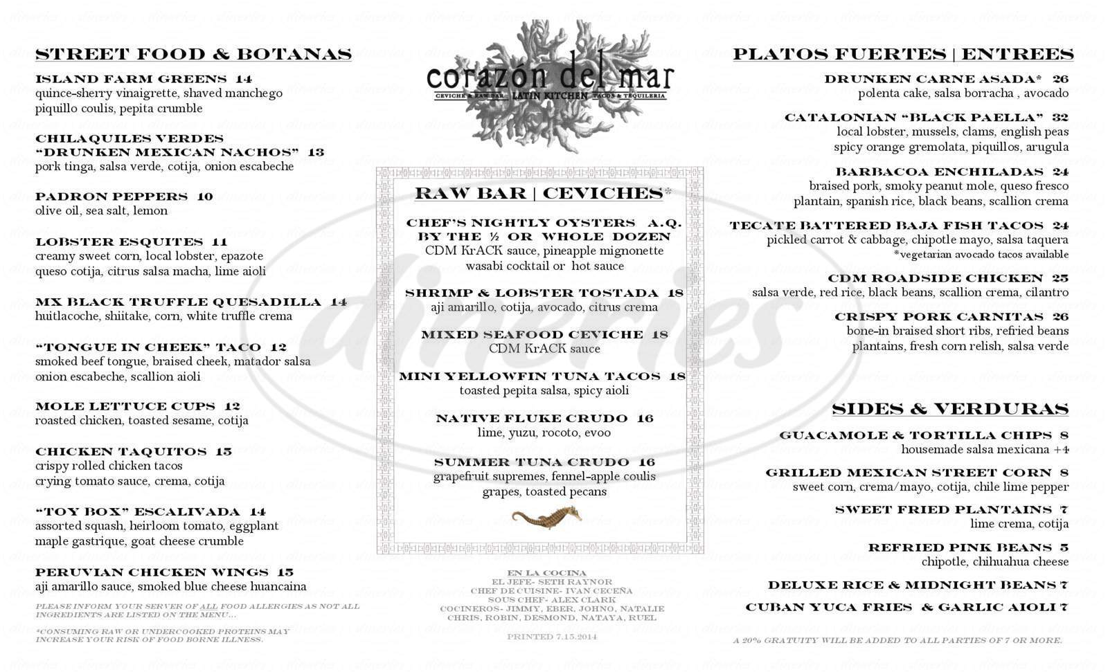 menu for Corazón del Mar
