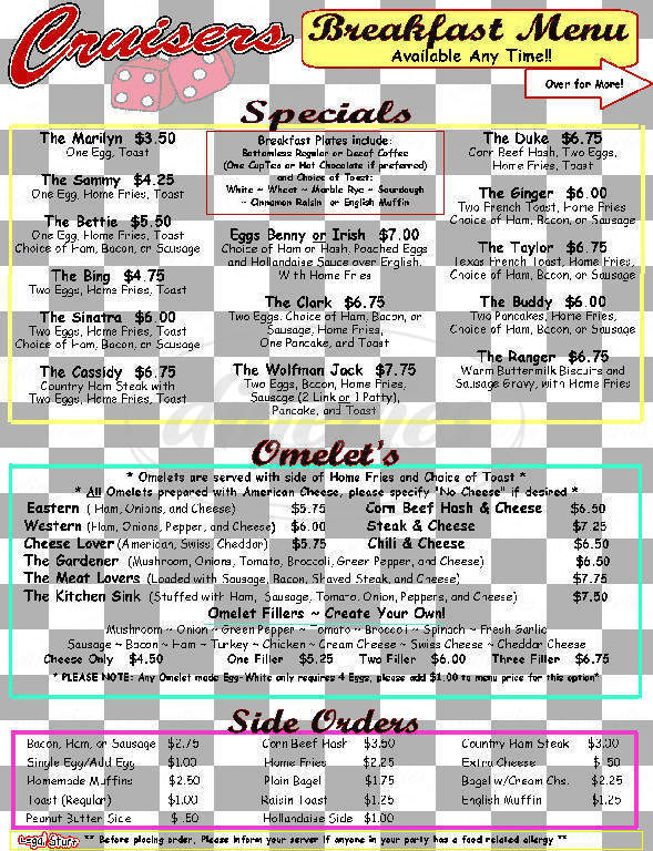 menu for Cruiser's Malt Shoppe