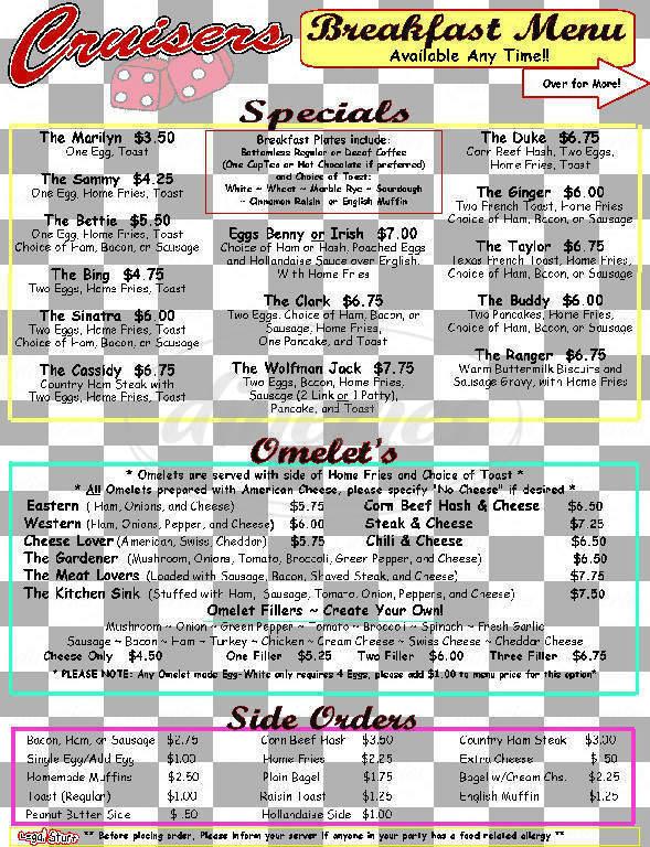 menu for Cruiser's Malt Shoppe