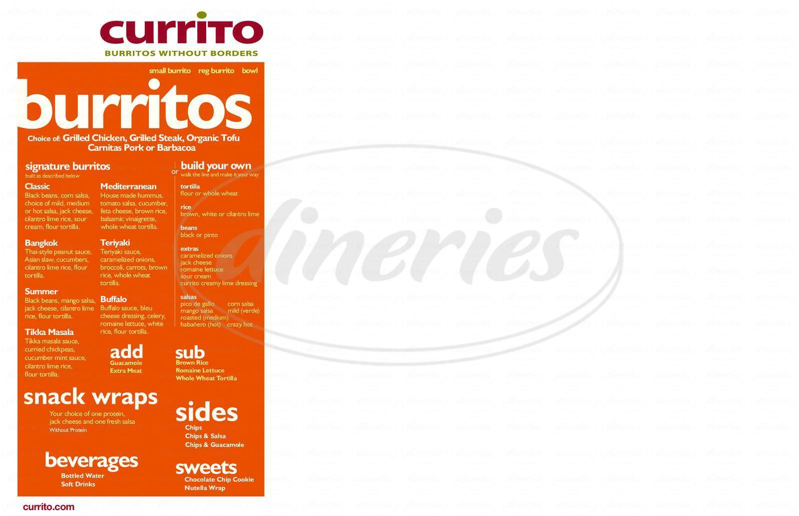 menu for Currito Burritos Without Borders