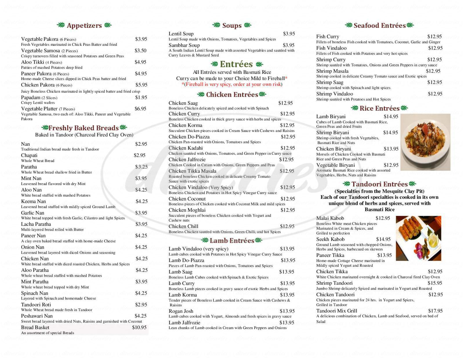 Big menu for Curry House, Brookline