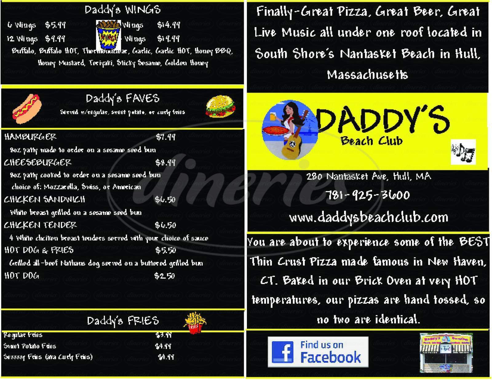 menu for Daddy's Beach Club