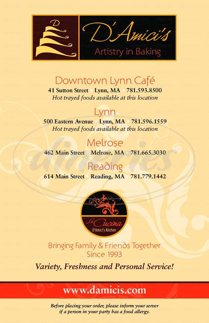 menu for D'amici's Downtown Cafe & Bakery