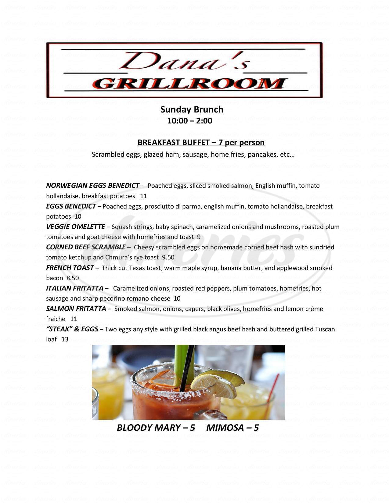 menu for Danas Grill Room