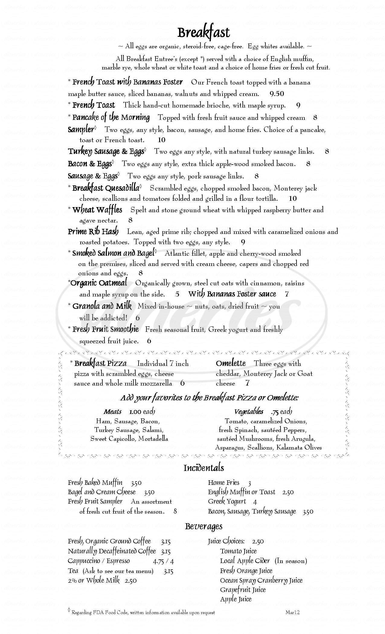 menu for Dan'l Webster Inn & Spa