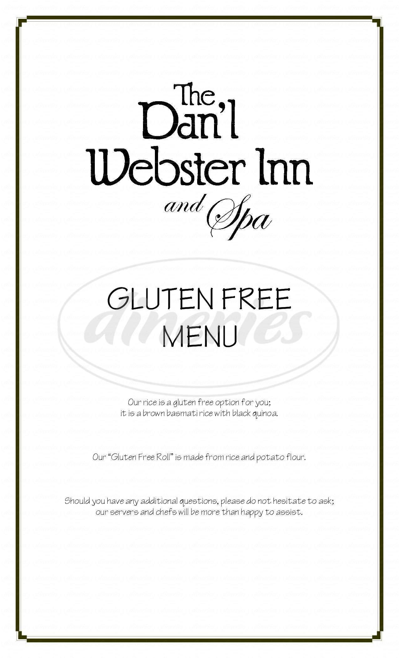 menu for Dan'l Webster Inn & Spa