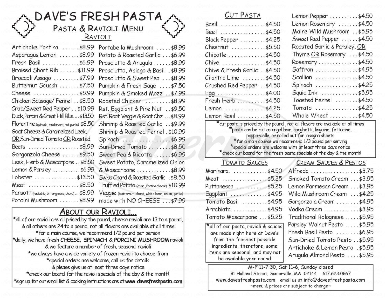 menu for Dave's Fresh Pasta