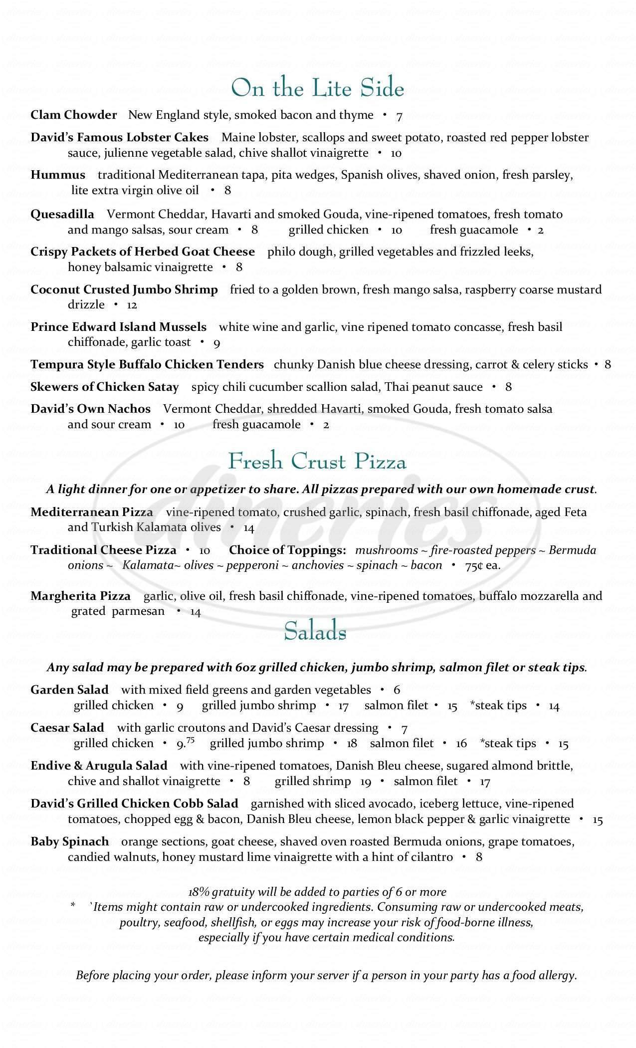 menu for David's Tavern on Brown Square