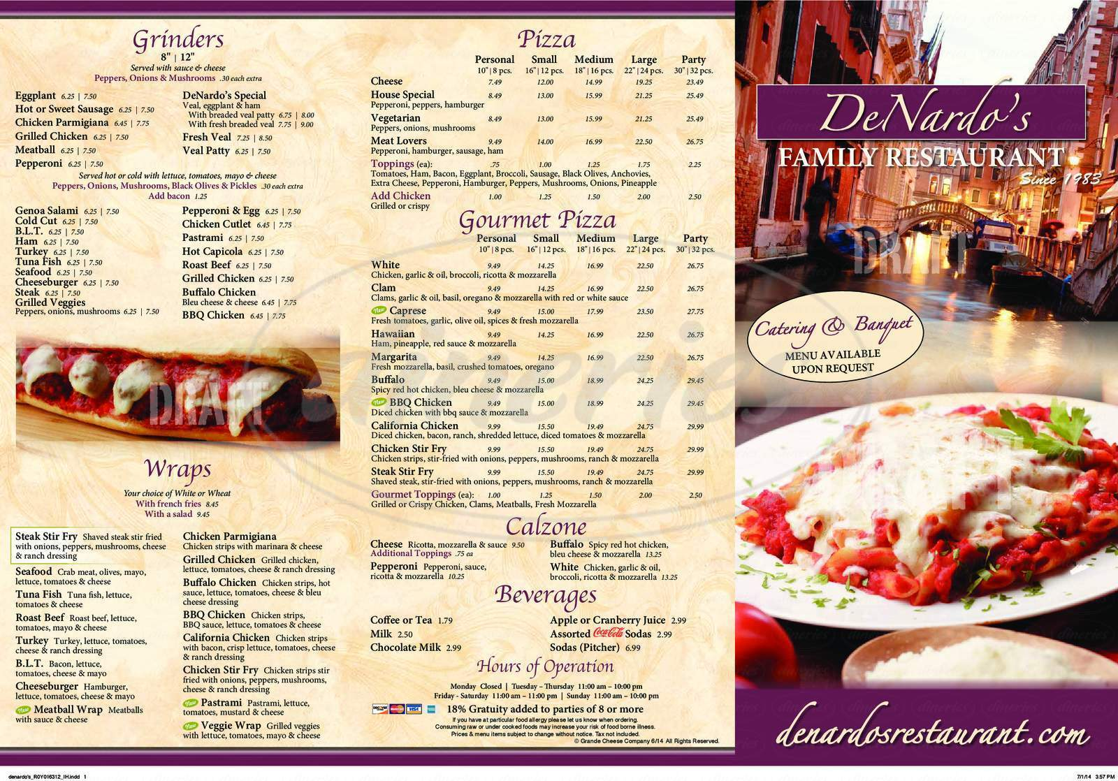 menu for De Nardo Pizzeria