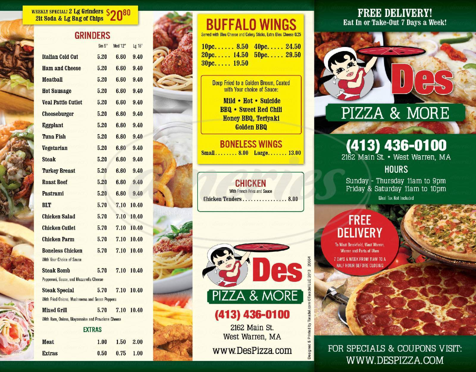 menu for Des Pizza and More
