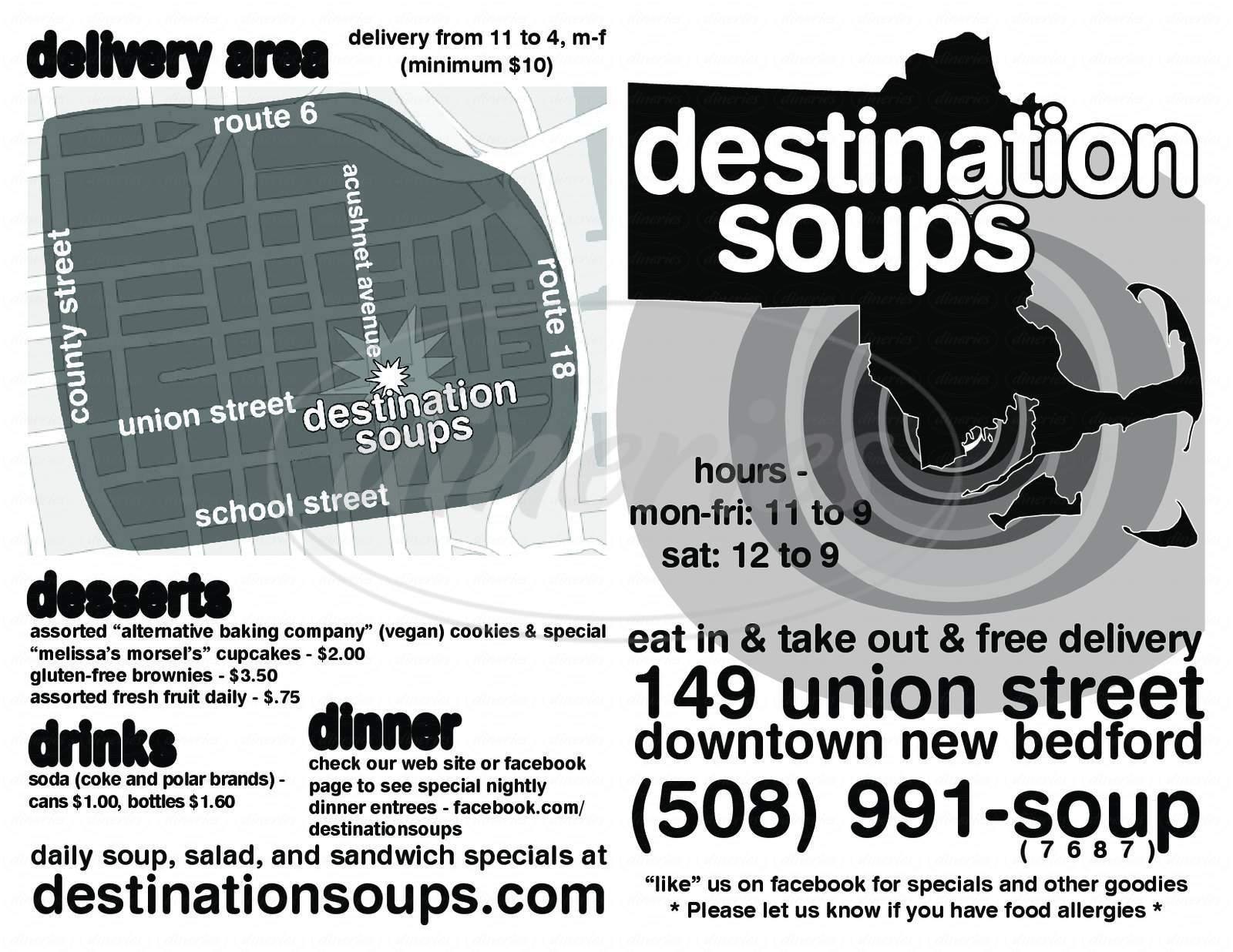 menu for Destination Soups Inc