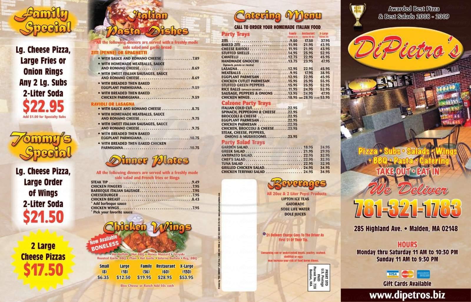 menu for DiPietro's Pizza