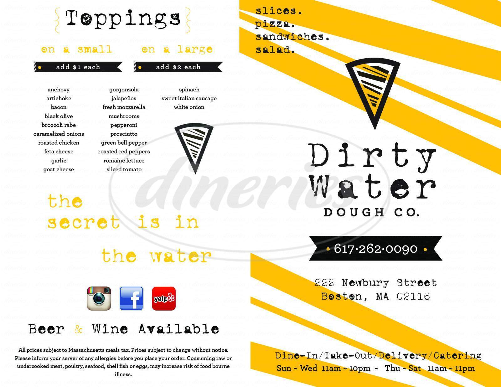 menu for Dirty Water Dough Company
