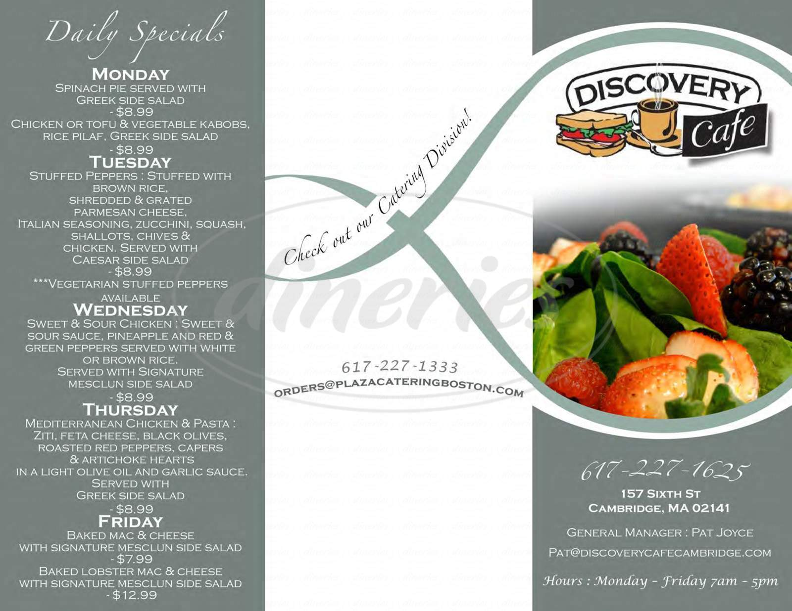 menu for Discovery Cafe
