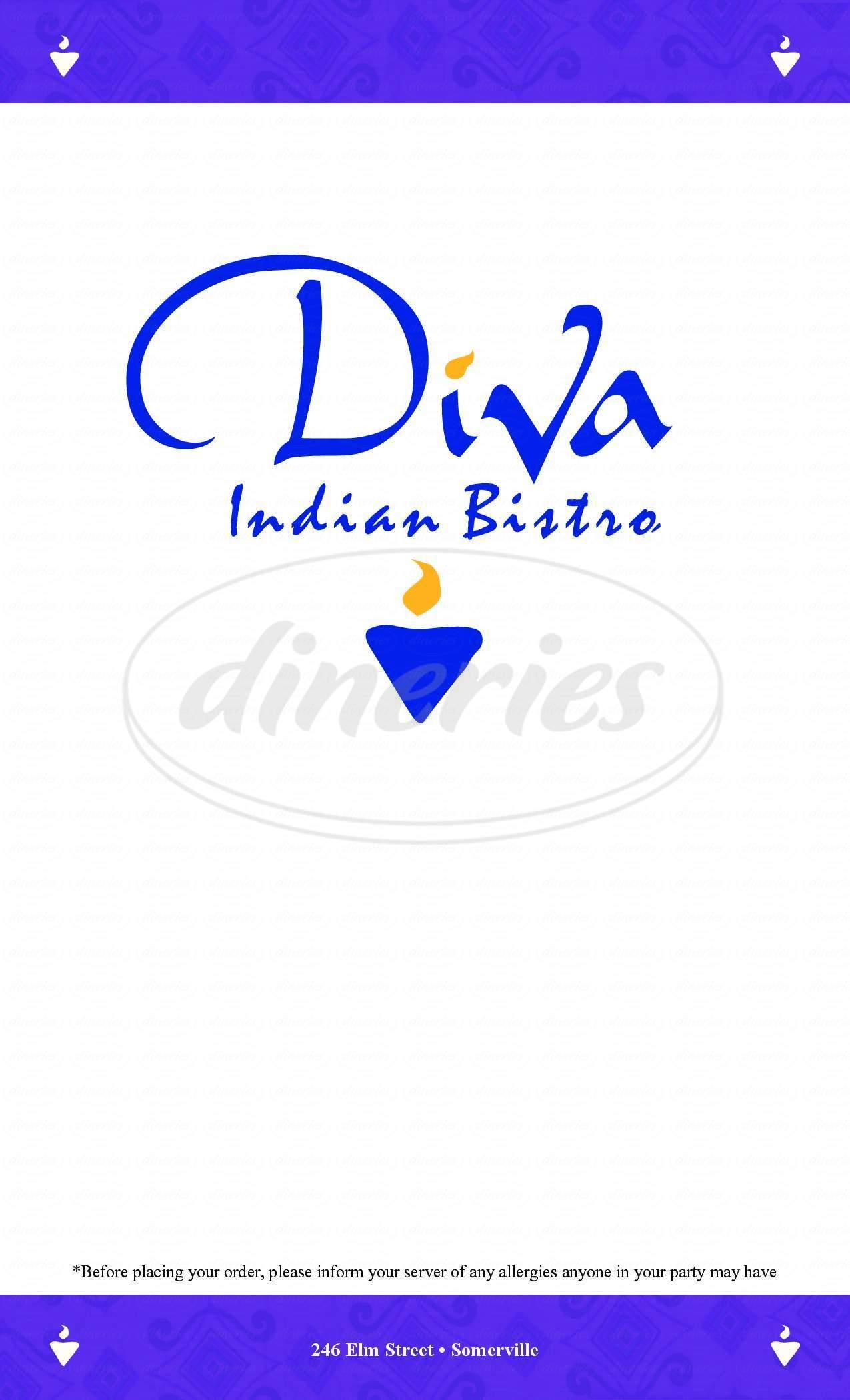 menu for Diva India Bistro