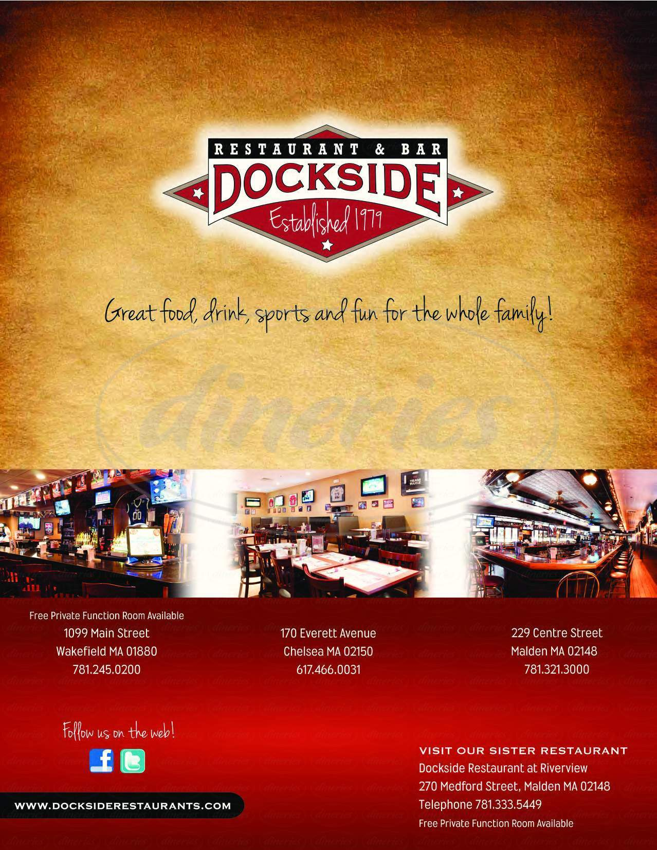 menu for Dockside Restaurant