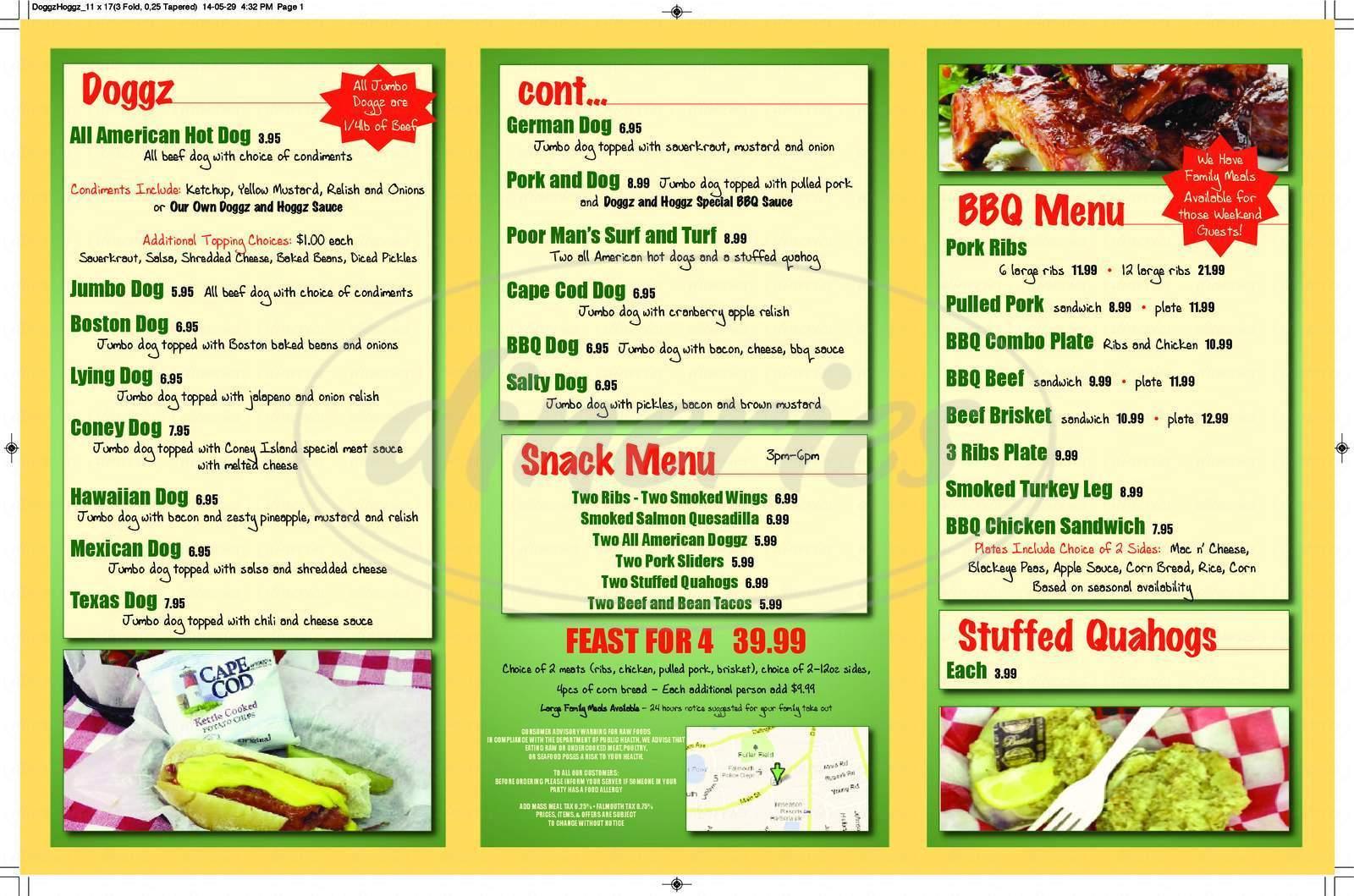menu for Doggz & Hoggz
