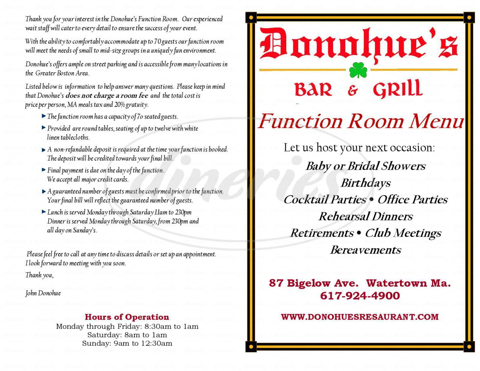 menu for Donohue's Bar and Grill