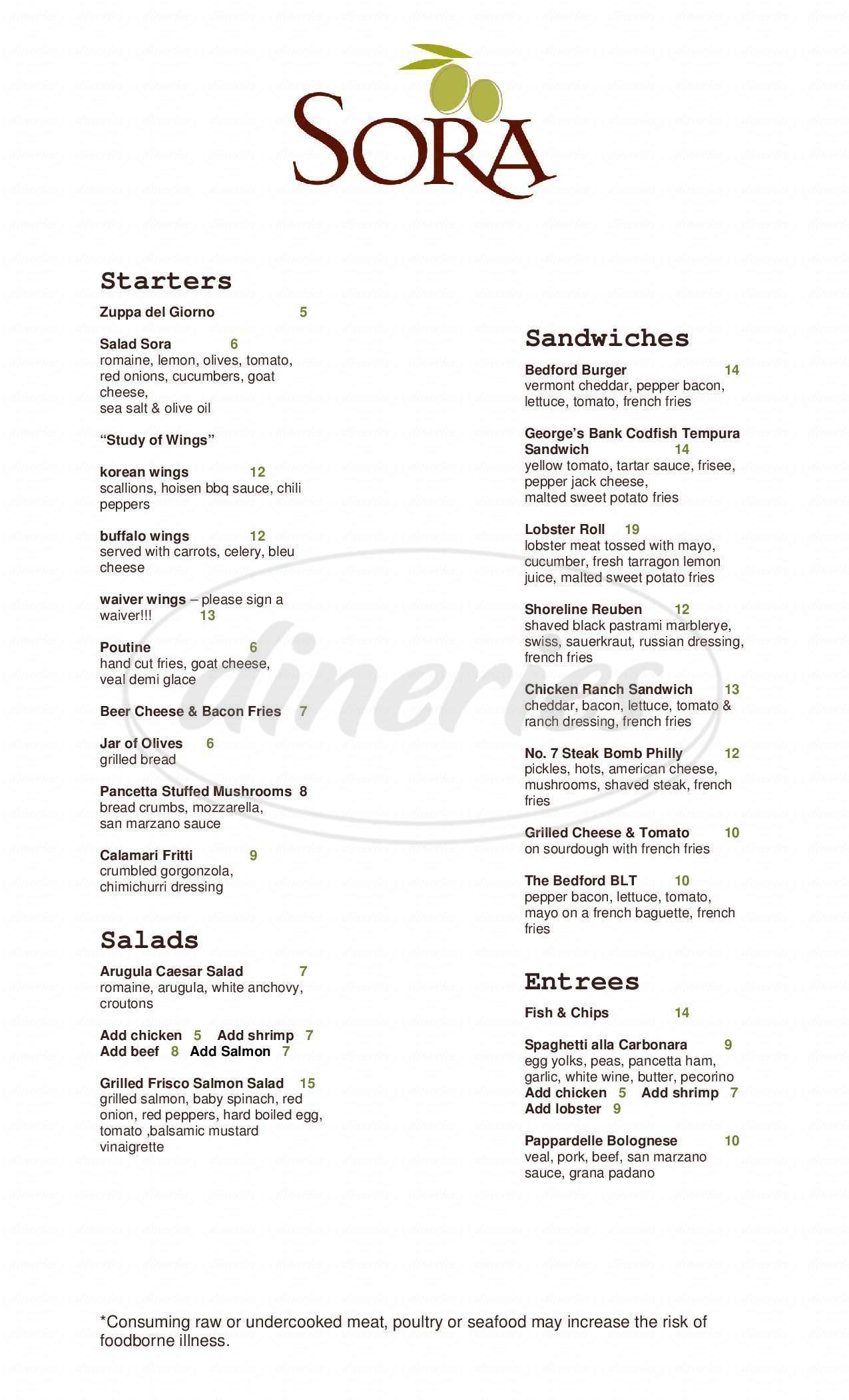 menu for SORA