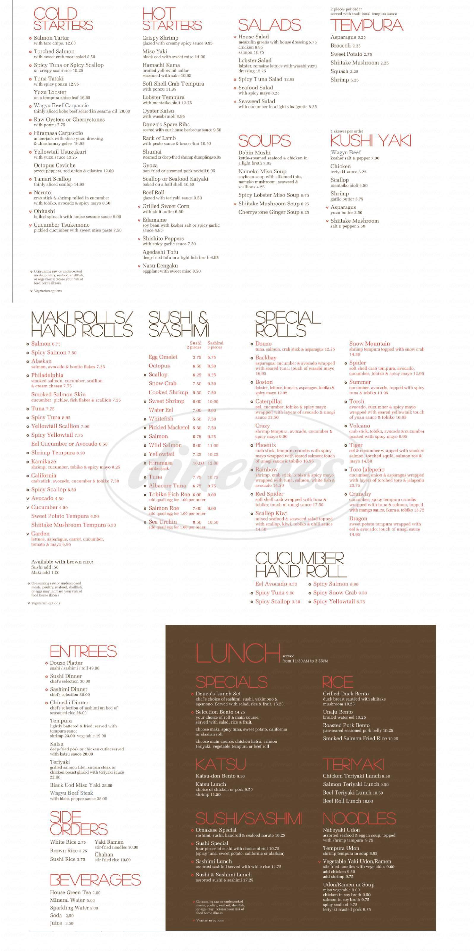 menu for Douzo