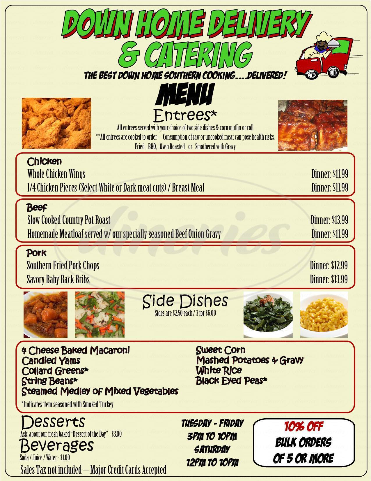 menu for Down Home Delivery & Catering