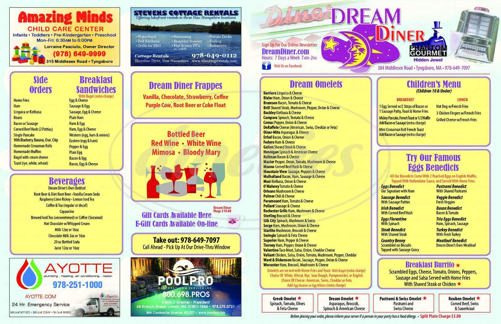 menu for Dream Diner