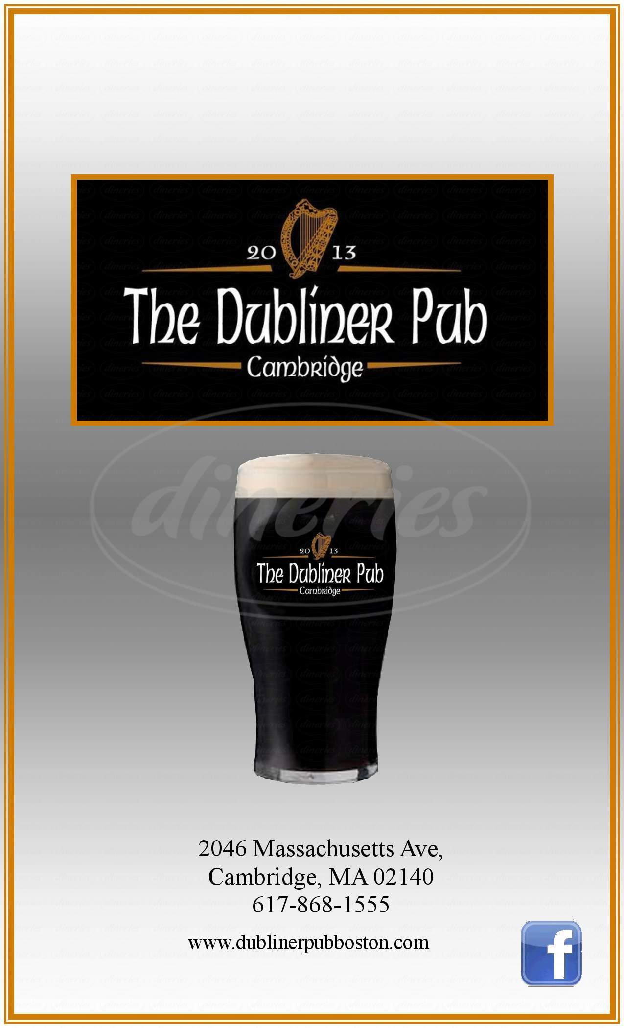 menu for The Dubliner Pub