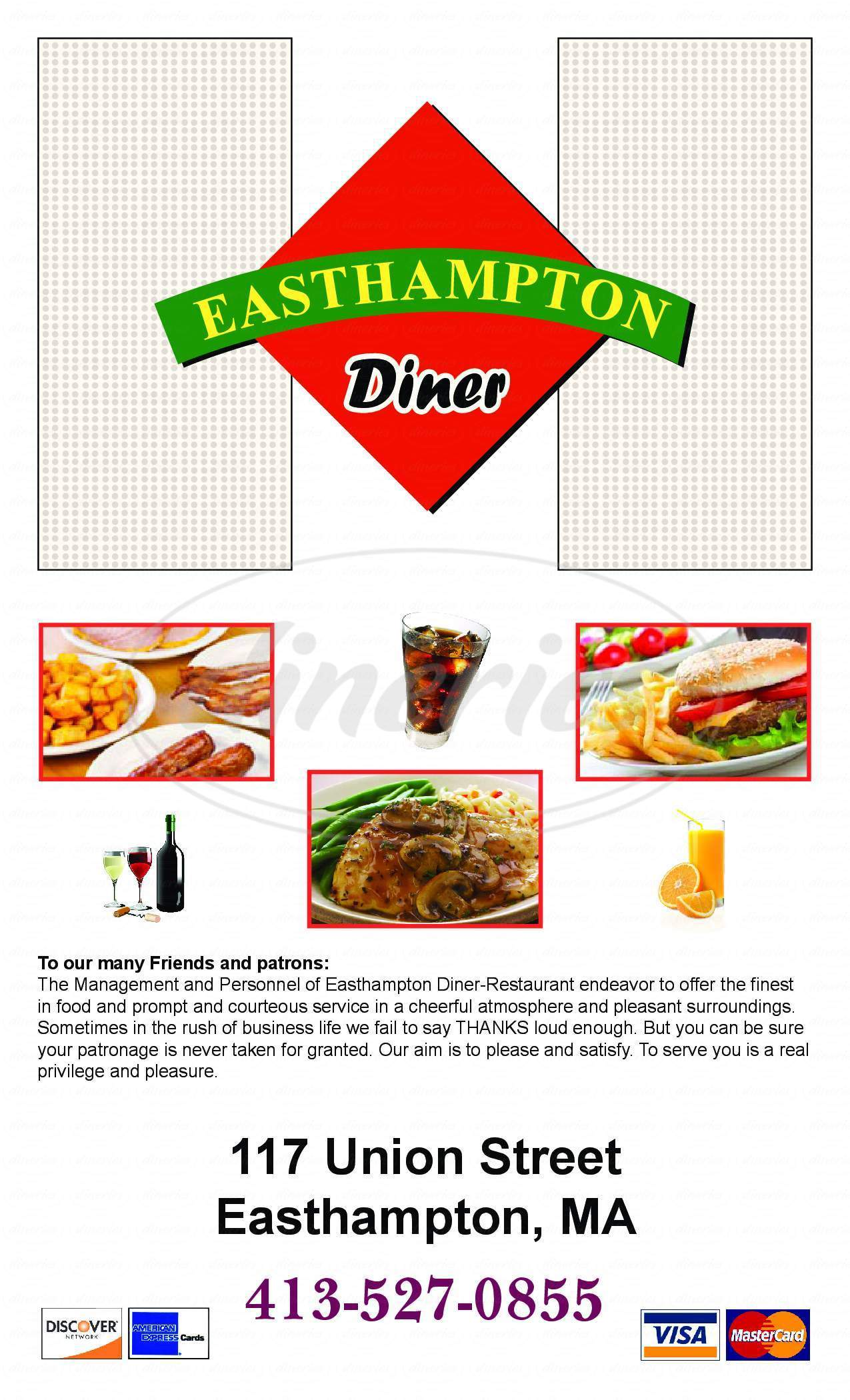 menu for Easthampton Diner
