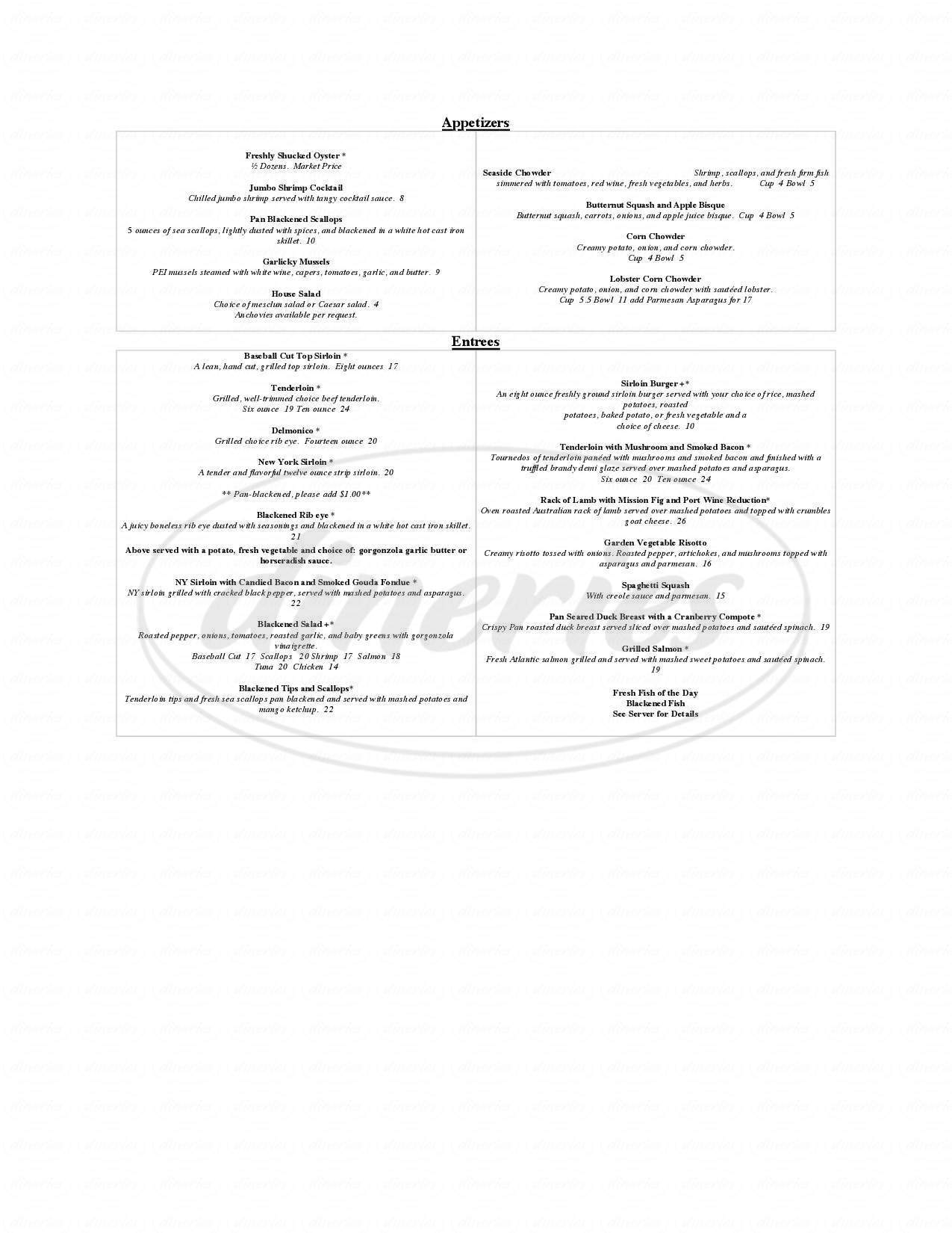 menu for Eastside Grill