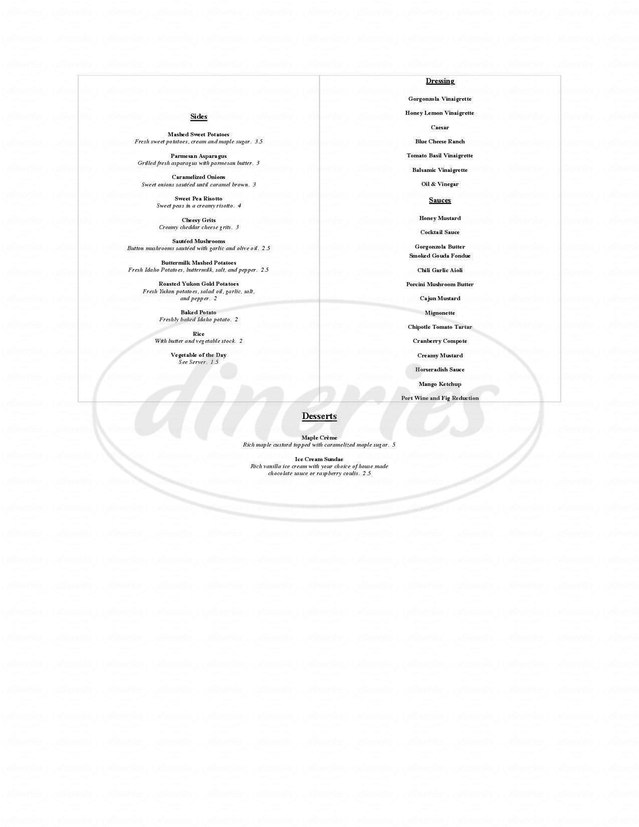 menu for Eastside Grill