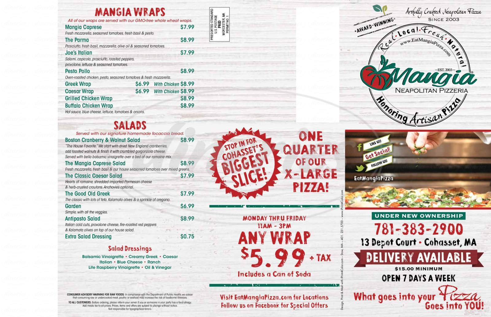 menu for Mangia Neopolitan Pizza