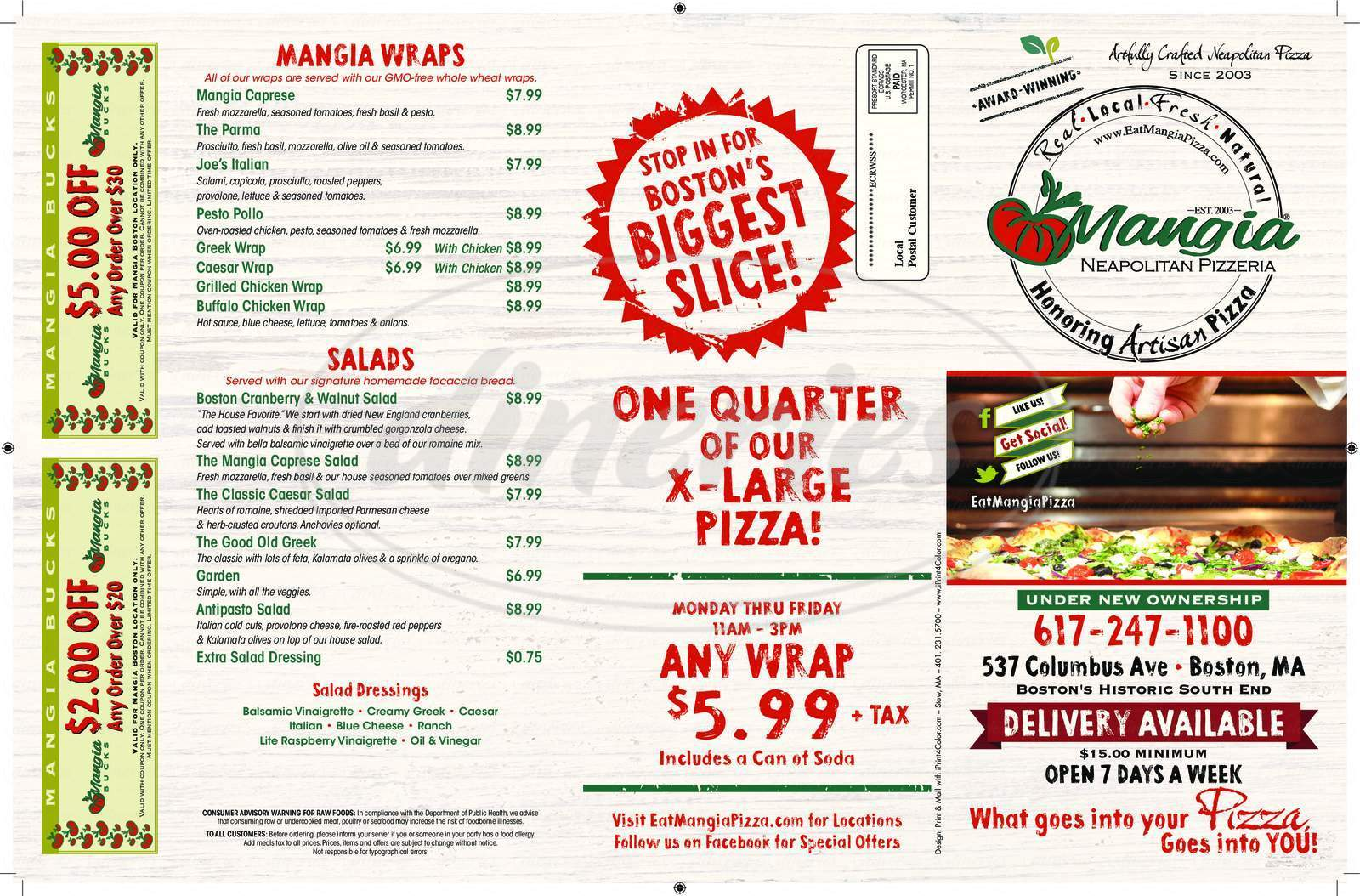 menu for Mangia Neapolitan Pizzeria